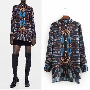 NWOT Zara Chain Print Shirt Long Sleeve Shirt